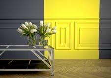 Ramo de la primavera de tulipanes blancos representación 3d Fotografía de archivo libre de regalías