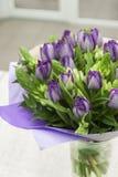 Ramo de la primavera de tulipanes de la lila y de primer del ornithogalum Fotografía de archivo