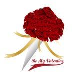 Ramo de la rosa del rojo del ` s de la tarjeta del día de San Valentín del vector Imagenes de archivo
