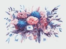 Ramo de las acuarelas de flores multicoloras Fotos de archivo