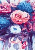 Ramo de las acuarelas de flores multicoloras Foto de archivo libre de regalías