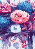 Ramo de las acuarelas de flores multicoloras Fotos de archivo libres de regalías