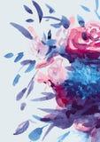 Ramo de las acuarelas de flores multicoloras Imágenes de archivo libres de regalías