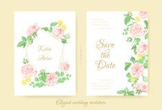 Ramo de las flores del vector, invitaciones de boda del vintage fotos de archivo libres de regalías