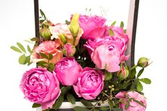 Ramo de las flores en una caja, Booker de las rosas para el día de madre Rose en una caja de regalo Flores el 8 de marzo Día feli imagen de archivo