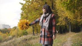 Ramo de las hojas amarillas Muchacha del otoño que camina en parque de la ciudad Retrato de la mujer joven preciosa y hermosa fel almacen de metraje de vídeo