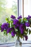 Ramo de lila en pote en ventana Imagen de archivo