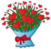 Ramo de los corazones de las tarjetas del día de San Valentín Imagen de archivo libre de regalías