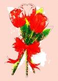 Ramo de los tulipanes del Grunge stock de ilustración