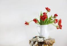 Ramo de los tulipanes en el florero blanco en silla rústica de madera Fotos de archivo libres de regalías