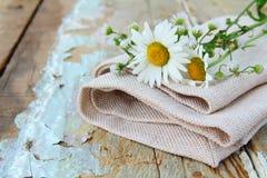 Ramo de margaritas en el bolso de lino Fotos de archivo