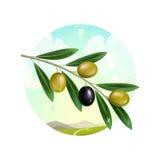 Ramo de oliveira realístico no fundo da paisagem da montanha ilustração stock