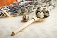 Ramo de Pascua, decoración del día de fiesta, sauce de gatito y huevos de Pascua Fotos de archivo