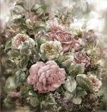 Ramo de pintura color de rosa de la acuarela Imágenes de archivo libres de regalías