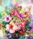 Ramo de pintura multicolora de la acuarela de las flores Fotografía de archivo