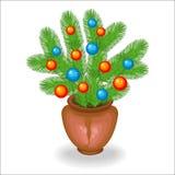 Ramo de ramas de árbol de navidad S?mbolo tradicional del A?o Nuevo Crea un humor festivo Adornado con los juguetes brillantes, b stock de ilustración