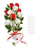 Ramo de rosas con un día de madre feliz en forma de corazón Fotos de archivo libres de regalías