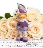 Ramo de rosas con un florista Foto de archivo libre de regalías