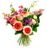 Ramo de rosas, de gerberas y de alsrtomerias Imagen de archivo libre de regalías