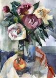 Ramo de rosas en un florero Foto de archivo
