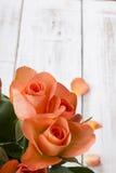 Ramo de rosas en un fondo de madera Fotos de archivo