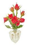 Ramo de rosas rojas en un jarro imagen de archivo libre de regalías