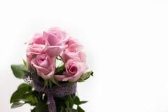 Ramo de rosas rosadas con el cordón púrpura Imágenes de archivo libres de regalías