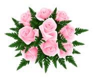 Ramo de rosas rosadas con el helecho. ilustración del vector
