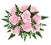 Ramo de rosas rosadas con el helecho y el gypsophila. VE ilustración del vector