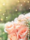 Ramo de rosas rosadas en fondo verde foto de archivo