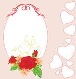 Ramo de rosas y de lirios con los corazones. Tarjeta Imagen de archivo libre de regalías