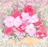 Ramo de rosas y de orquídeas con vector de los mejillones Imagen de archivo