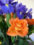 Ramo de rosas y Iris Orange y tema azul Imagenes de archivo