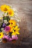 Ramo de tablero del vintage de las flores salvajes Imagenes de archivo