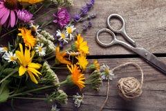 Ramo de tablero del vintage de las tijeras de las flores salvajes Fotos de archivo libres de regalías