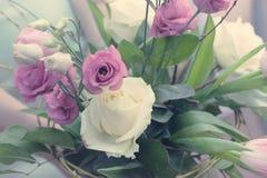 Ramo de tonos apacibles de la rosa del rosa Imagen de archivo