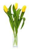 Ramo de tulipanes amarillos en el florero de cristal Imagen de archivo libre de regalías
