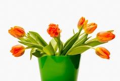 Ramo de tulipanes anaranjados delante del backgroun brillante Fotografía de archivo