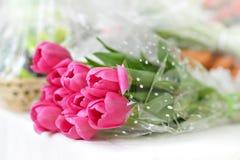 Ramo de tulipanes rosados Foto de archivo