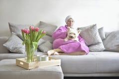 Ramo de tulipanes y en el fondo una mujer durmiente con un perro blanco imagen de archivo