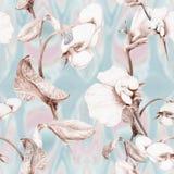 Ramo dei piselli sboccianti Carta da parati astratta con i motivi floreali Reticolo senza giunte wallpaper Fotografia Stock