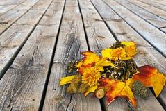 Ramo del cono de la hoja y del pino del otoño en la madera Imagen de archivo