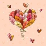 Ramo del día de tarjeta del día de San Valentín de plumas Imagen de archivo