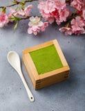 Ramo del dessert e di Sakura di tiramisù di Matcha fotografia stock libera da diritti