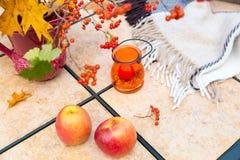 Ramo del otoño en la tabla al aire libre Temporada de otoño en pati del domicilio familiar Imagen de archivo libre de regalías