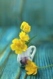 Ramo del ranúnculo en jarro miniatura, diminuto Fotos de archivo libres de regalías