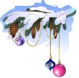 ramo dell'abete con le decorazioni dell'albero di Natale Fotografia Stock