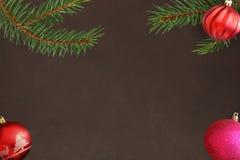 Ramo dell'albero di Natale con la palla ondulata rosa e rossa su un fondo scuro Immagine Stock Libera da Diritti