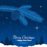 Ramo dell'albero di Natale con la pigna in blu Fotografia Stock Libera da Diritti