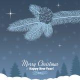Ramo dell'albero di Natale con la pigna nel Grey Fotografia Stock